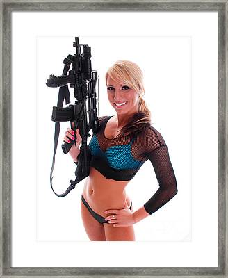 Sexy Woman Holding An Ar15 Framed Print by Jt PhotoDesign