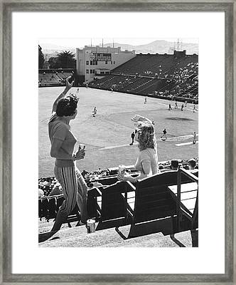 Sf Giants Fans Cheer Framed Print by Underwood Archives