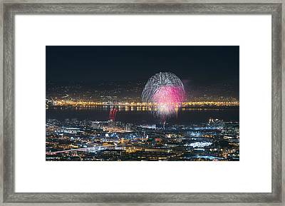 Sf Giants Post-game Fireworks Show Framed Print by David Yu