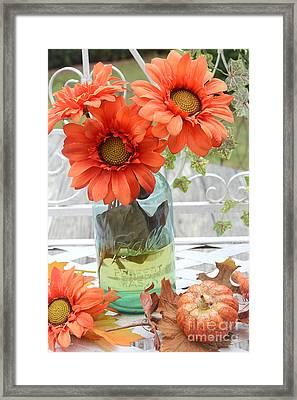 Shabby Chic Autumn Fall Orange Daisy Flowers In Mason Ball Jar - Autumn Fall Flowers Gerber Daisies Framed Print by Kathy Fornal