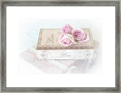 Shabby Chic Cottage Chic Dreamy Pastel Pink Cottage Roses With Romantic Love Pink Books Framed Print by Kathy Fornal