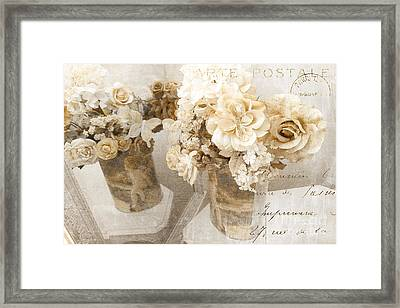 Shabby Chic Cottage Chic Vintage Impressionistic White Roses With French Script - White Roses Framed Print by Kathy Fornal