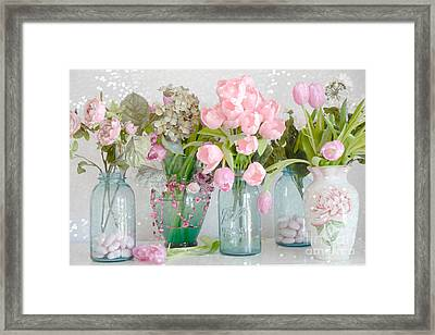 Shabby Chic Cottage Pink Blossoms Tulips And Aqua Blue Ball Jars And Hearts Framed Print by Kathy Fornal