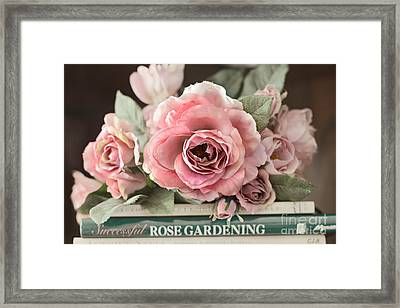 Shabby Chic Vintage Roses - Dreamy Ethereal Peach Pink Roses Garden Cottage Art Framed Print by Kathy Fornal