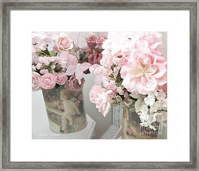 Shabby Chic Dreamy Cottage Chic Impressiontic Romantic Rose Floral Art Framed Print by Kathy Fornal