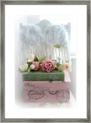 Shabby Chic Dreamy Cottage Roses With Romantic Paris Books And Angel Wings On White Chair Framed Print by Kathy Fornal