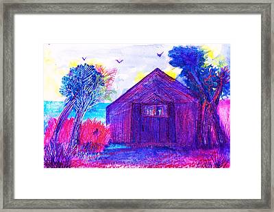 Shack And Trees By The Water Framed Print by Anne-Elizabeth Whiteway