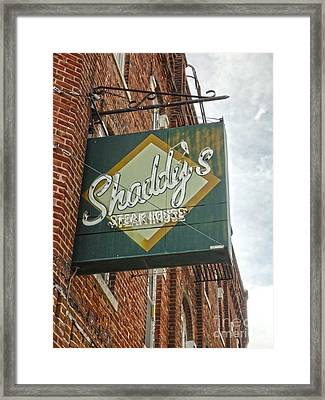 Shaddys Steakhouse Sign Montezuma Iowa Framed Print by Gregory Dyer