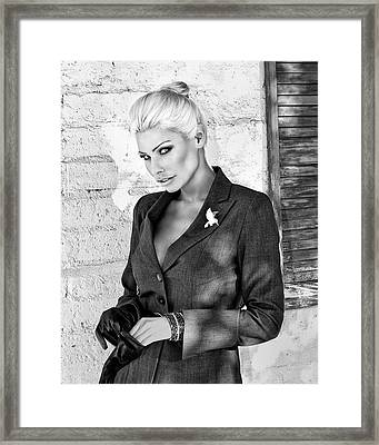 Shadowing Her Bw Palm Springs Framed Print by William Dey