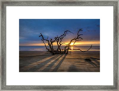 Shadows On The Sand Framed Print by Debra and Dave Vanderlaan
