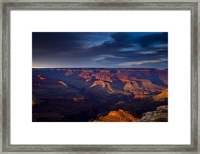 Shadows Play At The Grand Canyon Framed Print by Andrew Soundarajan