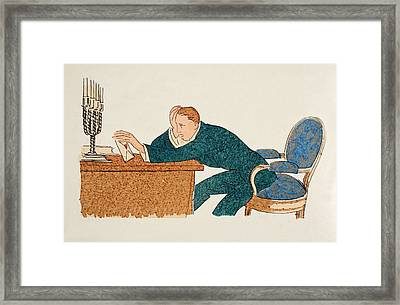 Shall I Send It Or Not  Framed Print by French School