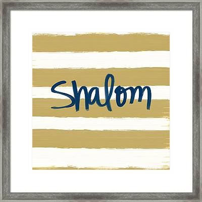 Shalom- Blue With Gold Framed Print by Linda Woods