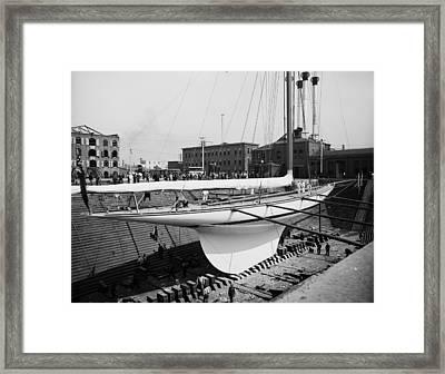 Shamrock 3 In Dry Dock 1903 Framed Print by Stefan Kuhn