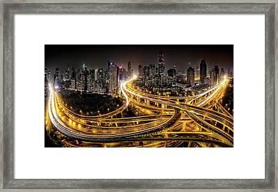 Shanghai At Night Framed Print by Clemens Geiger