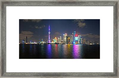 Shanghai At Night Framed Print by Ulrich Schade