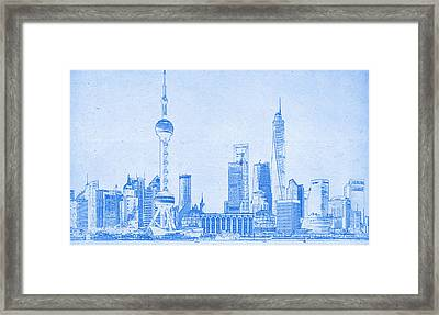 Shanghai Blueprint Framed Print by Celestial Images