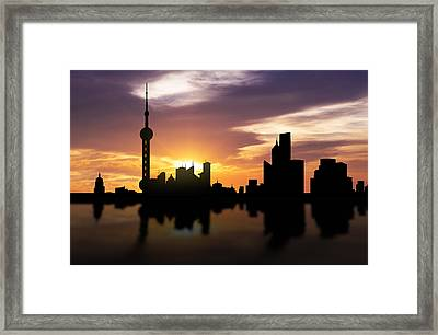 Shanghai China Sunset Skyline  Framed Print by Aged Pixel