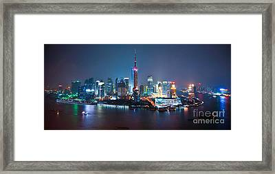 Shanghai Panorama Framed Print by Delphimages Photo Creations