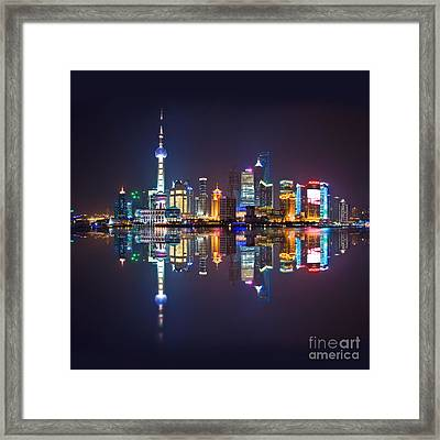 Shanghai Reflections Framed Print by Delphimages Photo Creations