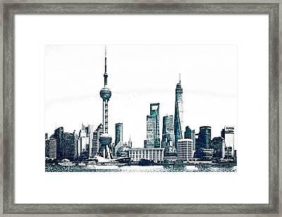 Shanghai Skyline Framed Print by Celestial Images