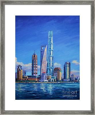 Shanghai Tower Framed Print by John Clark