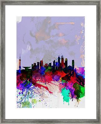 Shanghai Watercolor Skyline Framed Print by Naxart Studio
