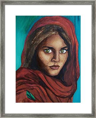 Sharbat Gula Framed Print by Amber Stanford