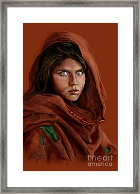 Sharbat Gula Framed Print by Reggie Duffie