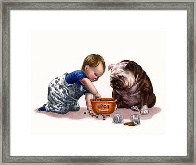 Sharing Food Framed Print by Isabella Kung