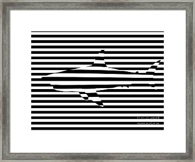 Shark Optical Illusion Framed Print by Pixel Chimp