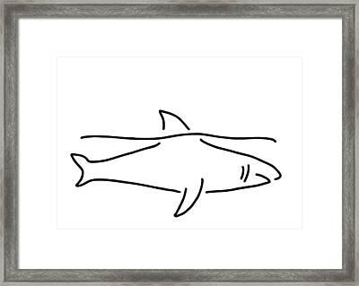 Shark Shark Fish Fin Sea Framed Print by Lineamentum