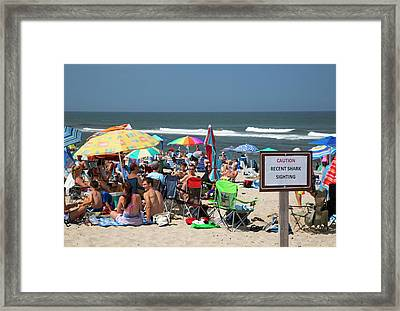 Shark Warning On A Beach Framed Print by Jim West