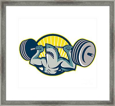 Shark Weightlifter Lifting Barbell Mascot Framed Print by Aloysius Patrimonio