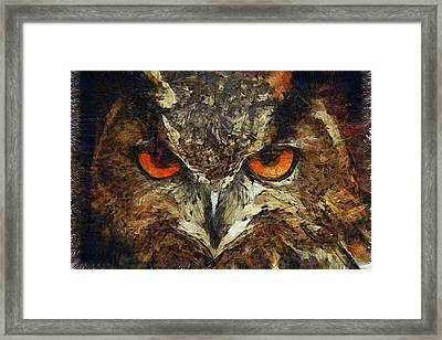 Sharpie Owl Framed Print by Ayse Deniz