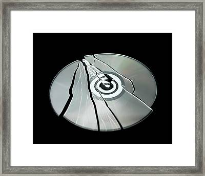 Shattered Cd-rom Framed Print by Robert Brook