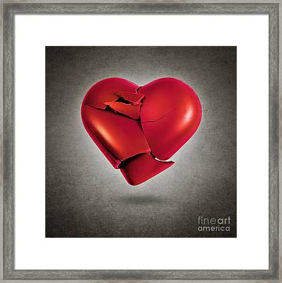 Shattered Heart Framed Print by Carlos Caetano