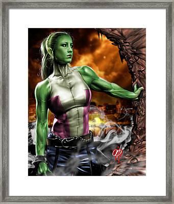 She-hulk Framed Print by Pete Tapang