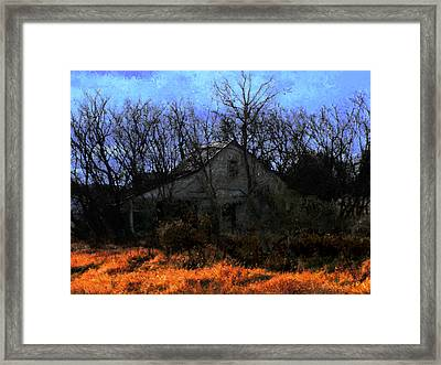 Shed In Brush On Hwy 49 North Of Waupaca Framed Print by David Blank