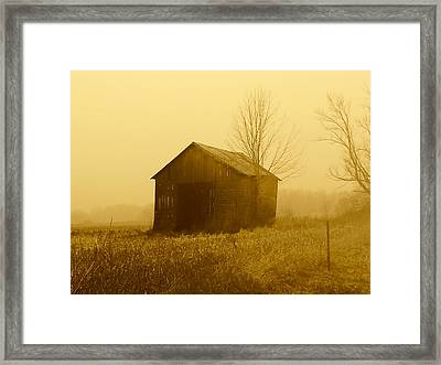 Shed In Field  Framed Print by Michael L Kimble