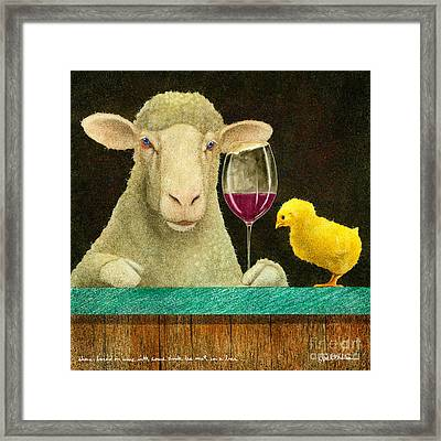 Sheep Faced On Wine With Some Chick He Met In A Bar... Framed Print by Will Bullas