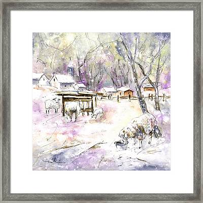 Sheep In Snow In Germany Framed Print by Miki De Goodaboom