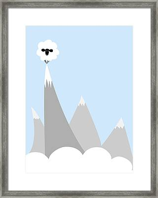 Sheep On Top Of A Mountain Framed Print by Christy Beckwith