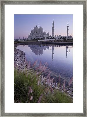 Sheikh Zayed Grand Mosque At Sunrise Framed Print by Kav Dadfar