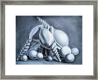 Shells Shells And Balls Still Life Framed Print by Irina Sztukowski