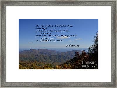 Shelter Of The Most High Framed Print by Debra Johnson