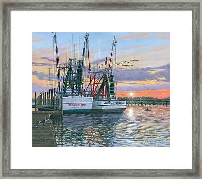 Shem Creek Shrimpers Charleston  Framed Print by Richard Harpum