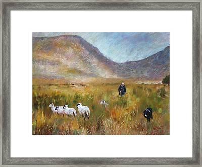 Shepherd And Sheep In The Valley  Framed Print by Viola El