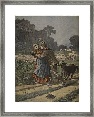 Shepherdess Defended By Her Dog Framed Print by Henri Meyer