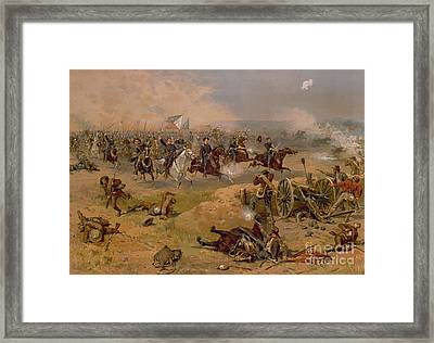 Sheridan's Final Charge At Winchester Framed Print by American School